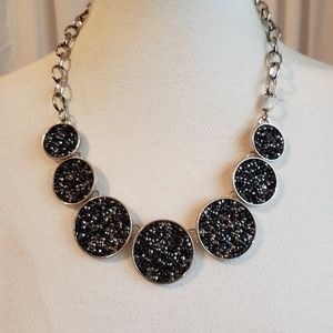 Black Sparkling Crushed Stone Necklace